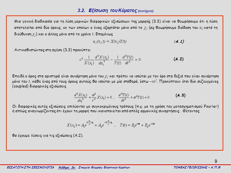 3.2. Εξίσωση του Κύματος (συνέχεια)