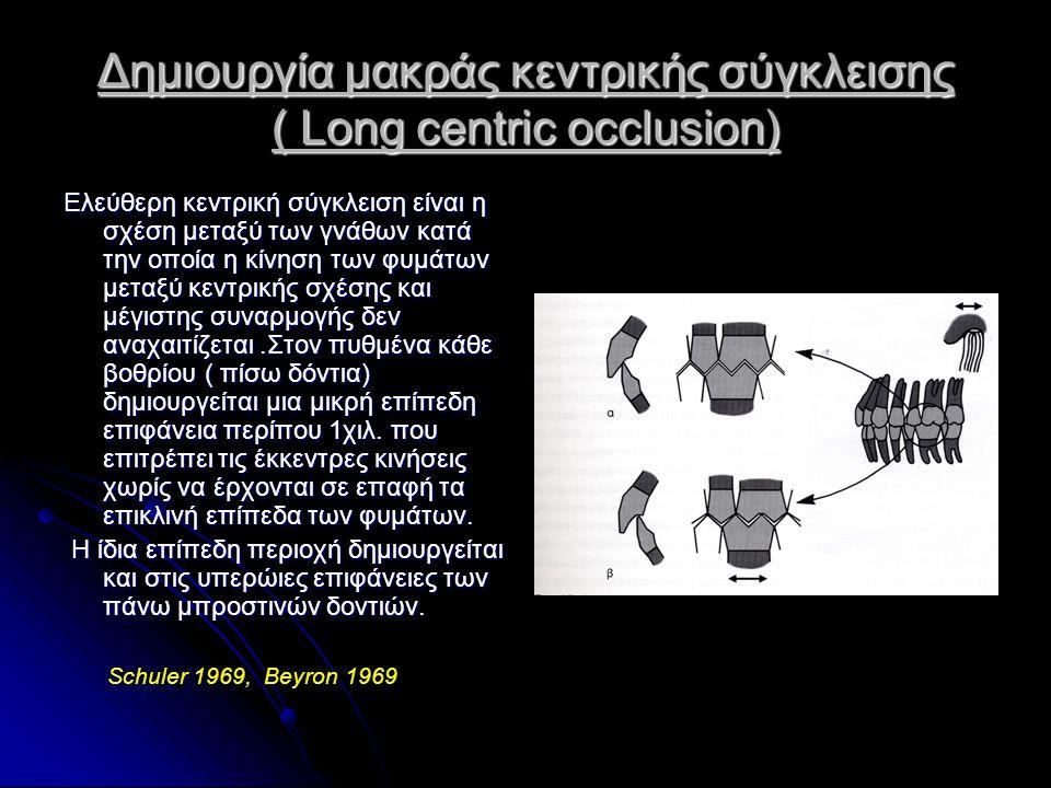 Δημιουργία μακράς κεντρικής σύγκλεισης ( Long centric occlusion)