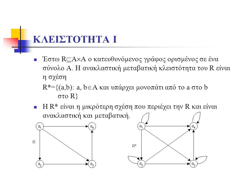 ΚΛΕΙΣΤΟΤΗΤΑ Ι Έστω RAA ο κατευθυνόμενος γράφος ορισμένος σε ένα σύνολο Α. Η ανακλαστική μεταβατική κλειστότητα του R είναι η σχέση.