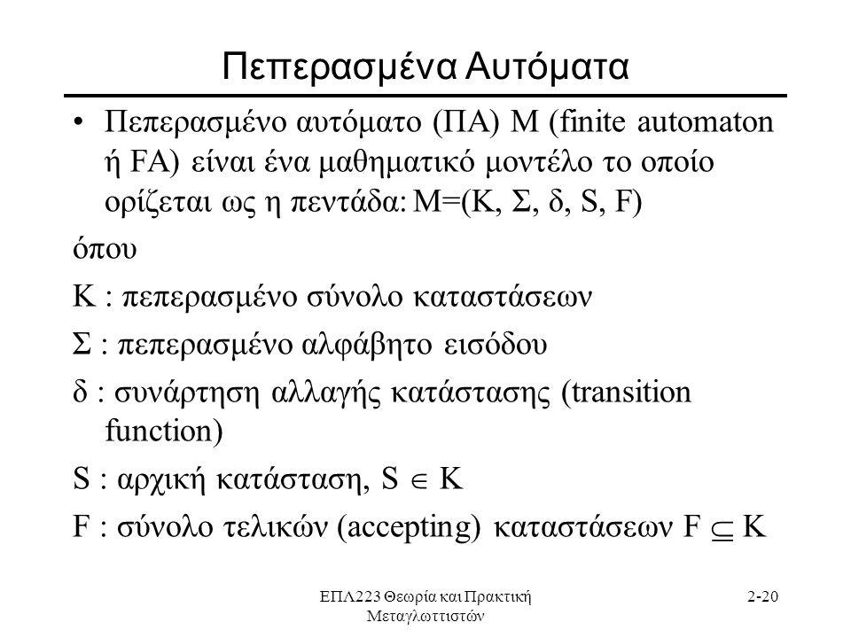ΕΠΛ223 Θεωρία και Πρακτική Μεταγλωττιστών