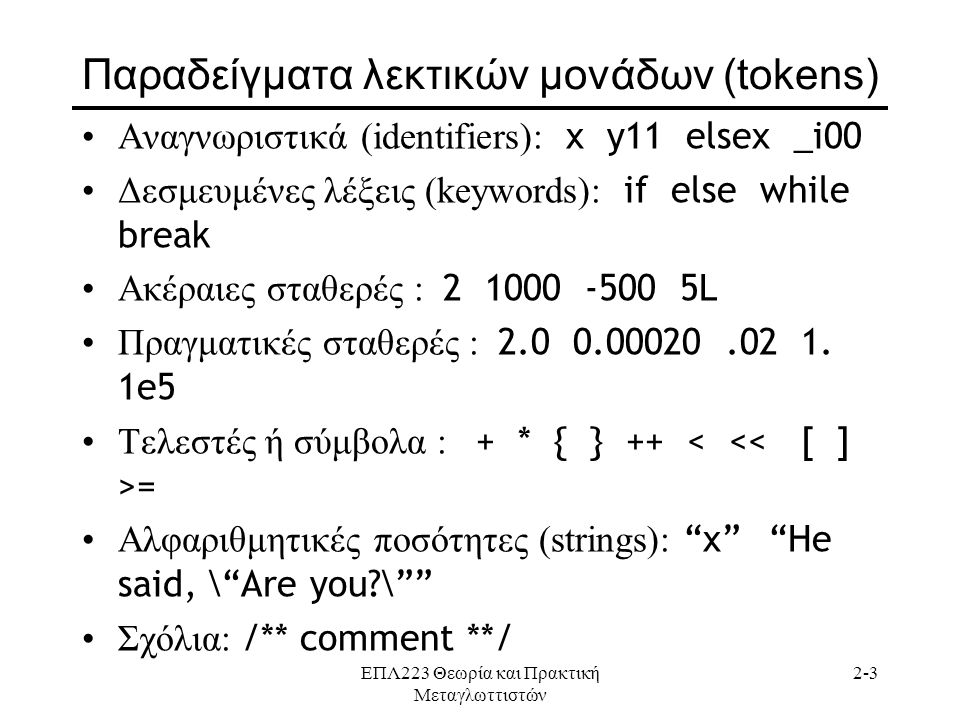 Παραδείγματα λεκτικών μονάδων (tokens)