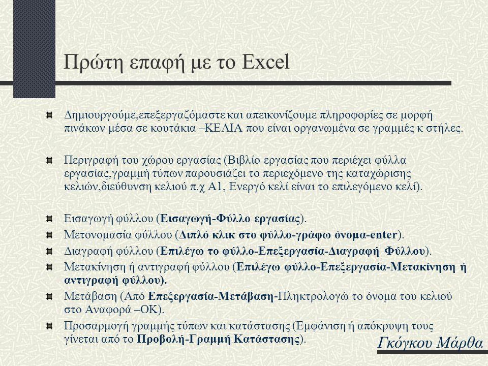 Πρώτη επαφή με το Excel Γκόγκου Μάρθα