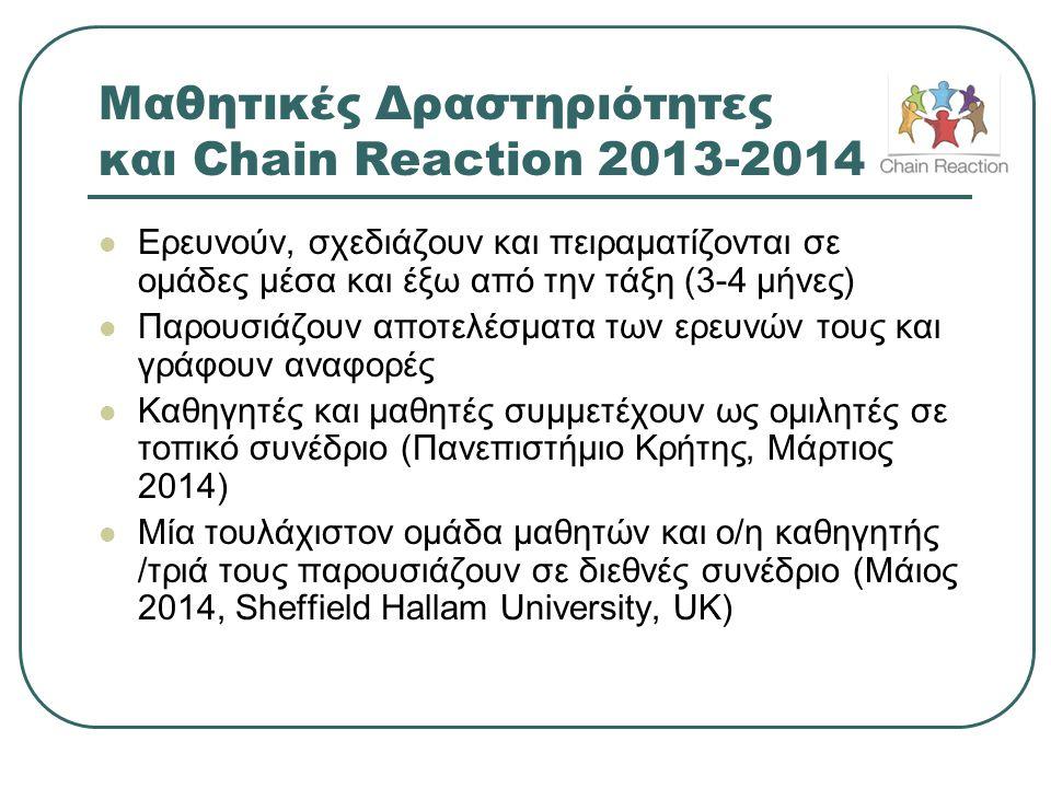 Μαθητικές Δραστηριότητες και Chain Reaction 2013-2014
