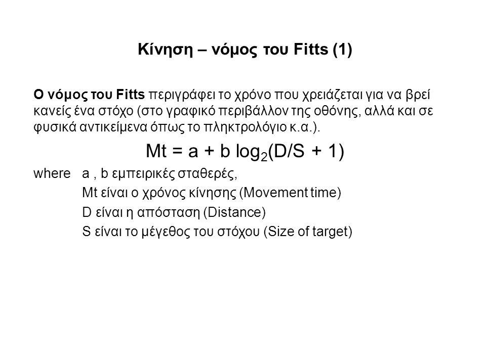 Κίνηση – νόμος του Fitts (1)