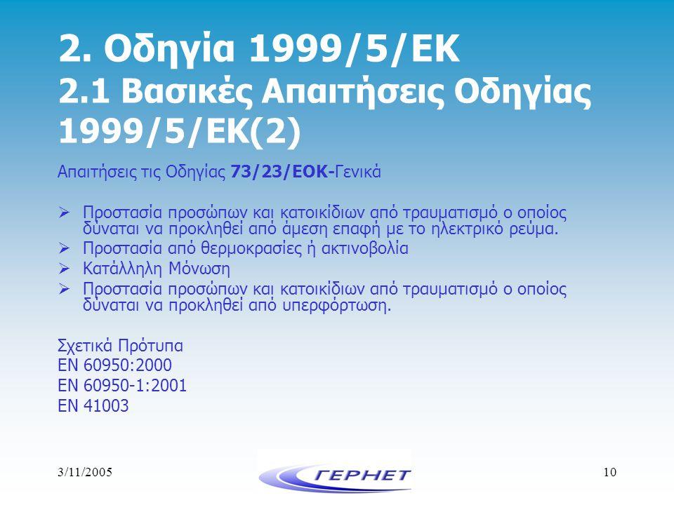 2. Οδηγία 1999/5/ΕΚ 2.1 Βασικές Απαιτήσεις Οδηγίας 1999/5/ΕΚ(2)