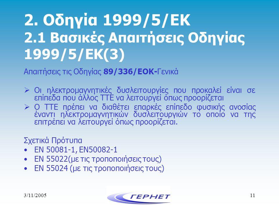 2. Οδηγία 1999/5/ΕΚ 2.1 Βασικές Απαιτήσεις Οδηγίας 1999/5/ΕΚ(3)