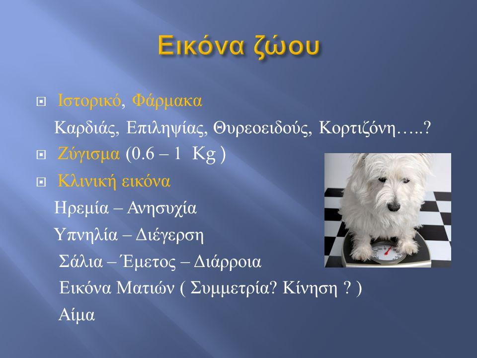 Εικόνα ζώου Ιστορικό, Φάρμακα