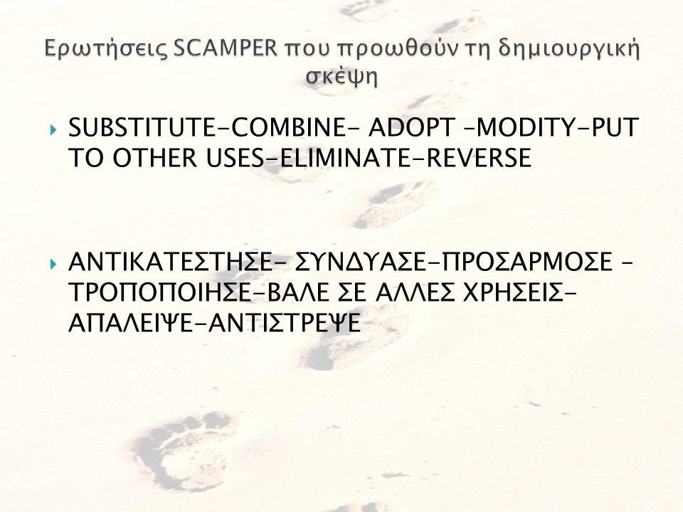 Ερωτήσεις SCAMPER που προωθούν τη δημιουργική σκέψη