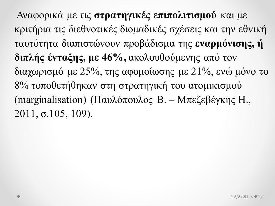 Αναφορικά με τις στρατηγικές επιπολιτισμού και με κριτήρια τις διεθνοτικές διομαδικές σχέσεις και την εθνική ταυτότητα διαπιστώνουν προβάδισμα της εναρμόνισης, ή διπλής ένταξης, με 46%, ακολουθούμενης από τον διαχωρισμό με 25%, της αφομοίωσης με 21%, ενώ μόνο το 8% τοποθετήθηκαν στη στρατηγική του ατομικισμού (marginalisation) (Παυλόπουλος Β. – Μπεζεβέγκης Η., 2011, σ.105, 109).