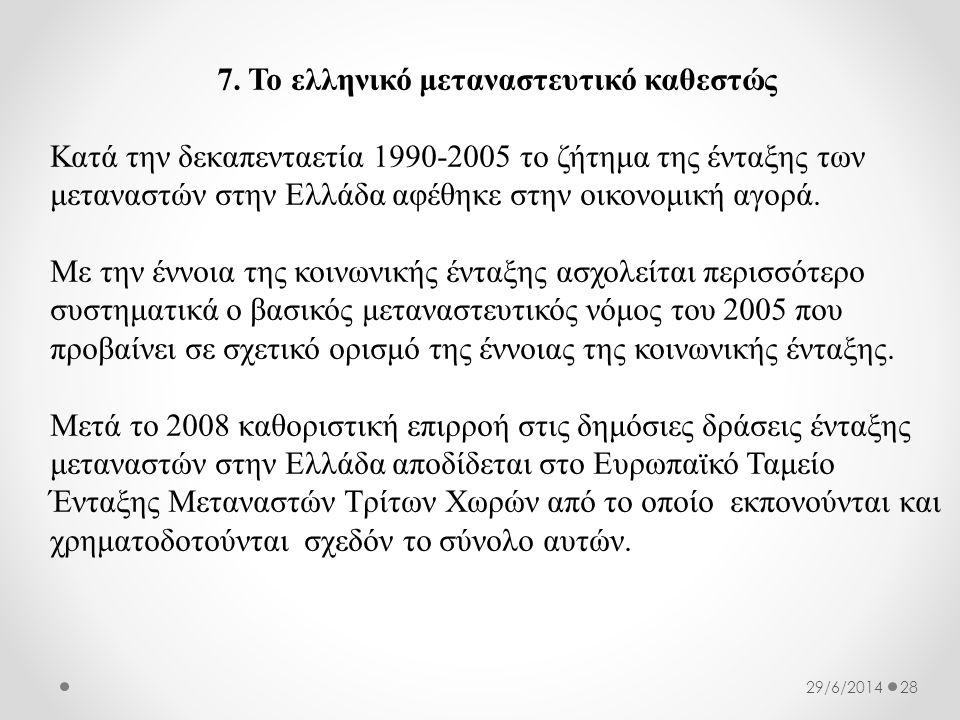 7. Το ελληνικό μεταναστευτικό καθεστώς