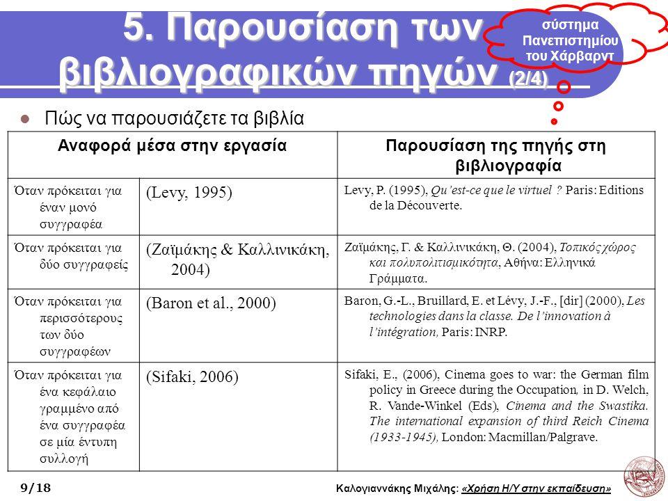 5. Παρουσίαση των βιβλιογραφικών πηγών (2/4)