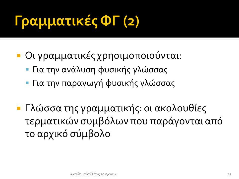 Γραμματικές ΦΓ (2) Οι γραμματικές χρησιμοποιούνται: