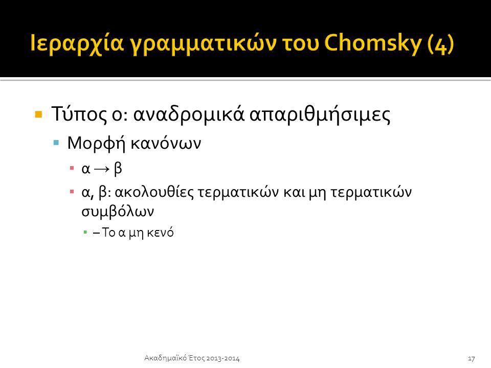 Ιεραρχία γραμματικών του Chomsky (4)