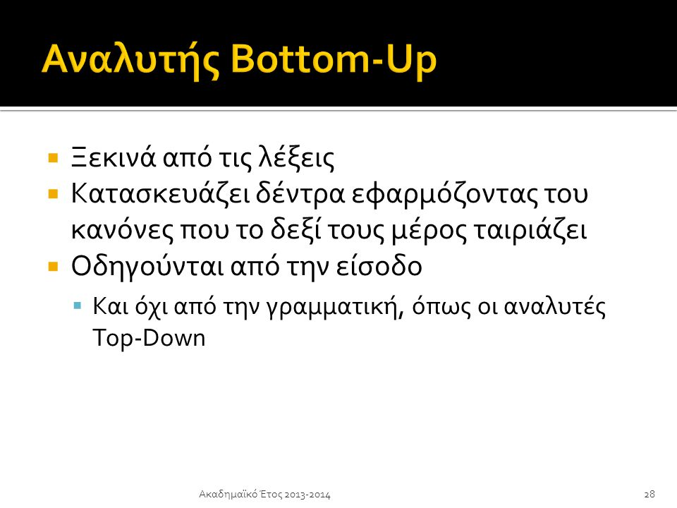 Αναλυτής Bottom-Up Ξεκινά από τις λέξεις