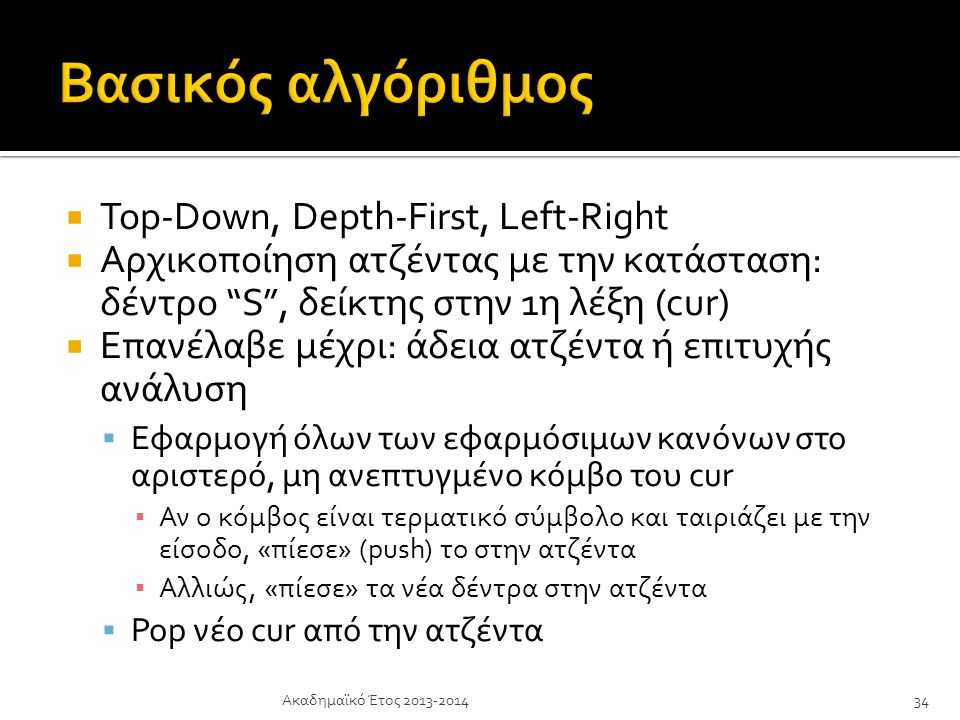 Βασικός αλγόριθμος Top-Down, Depth-First, Left-Right
