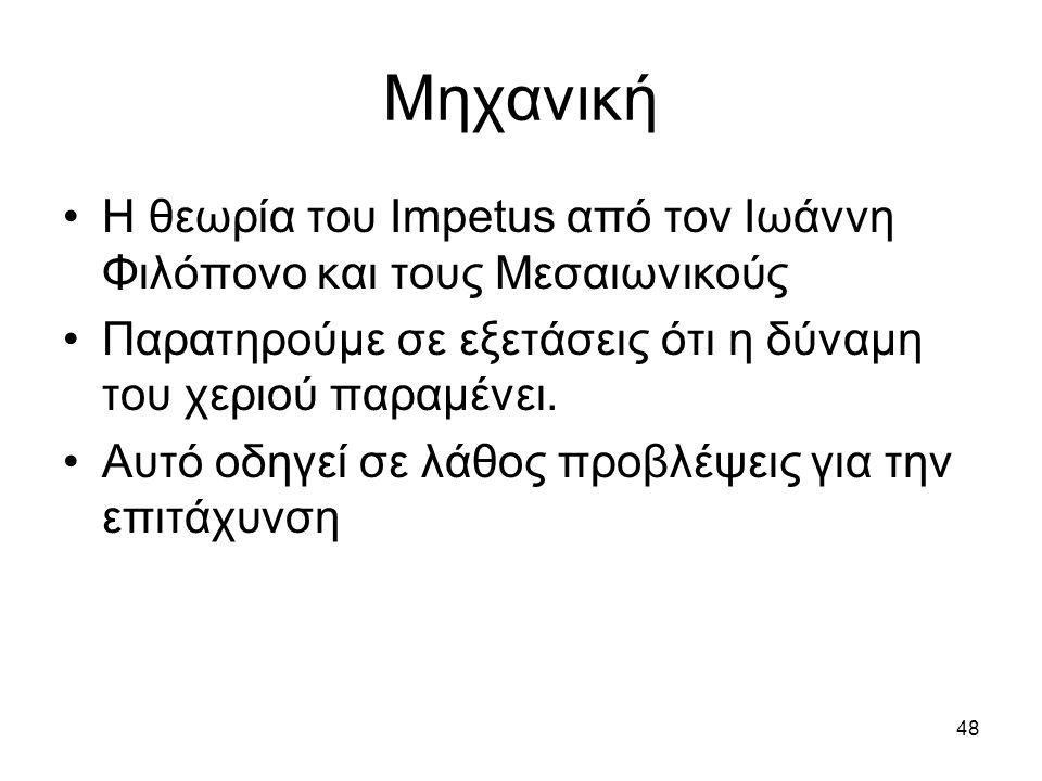 Μηχανική Η θεωρία του Impetus από τον Ιωάννη Φιλόπονο και τους Μεσαιωνικούς. Παρατηρούμε σε εξετάσεις ότι η δύναμη του χεριού παραμένει.