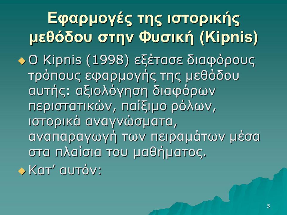 Εφαρμογές της ιστορικής μεθόδου στην Φυσική (Kipnis)