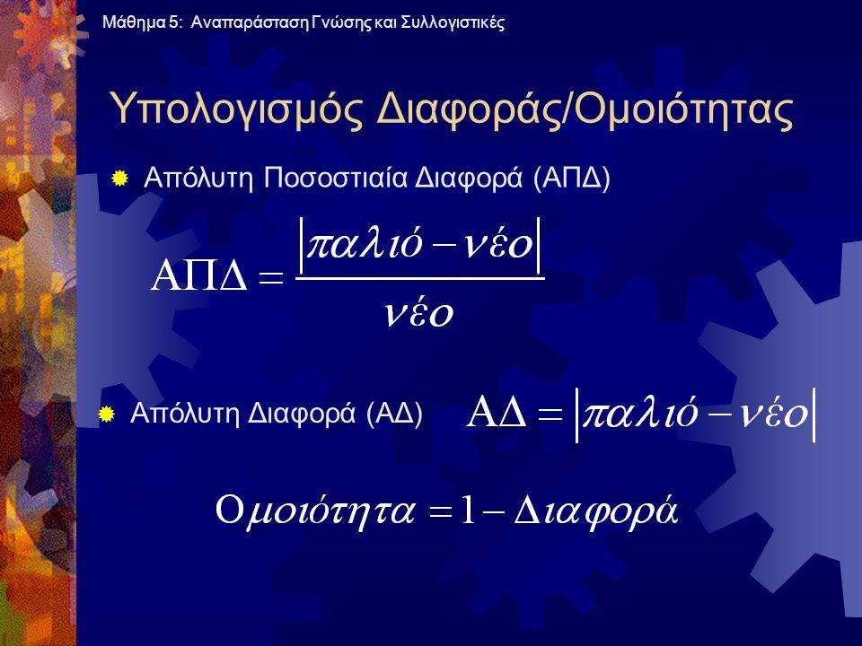 Υπολογισμός Διαφοράς/Ομοιότητας