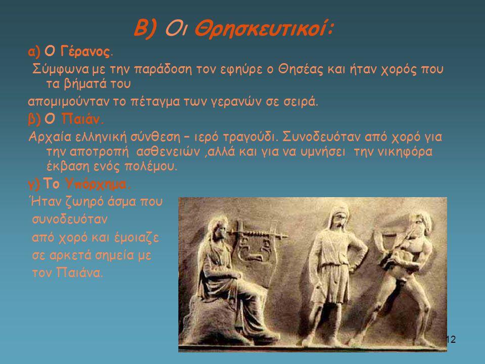 Β) Οι Θρησκευτικοί: α) Ο Γέρανος.
