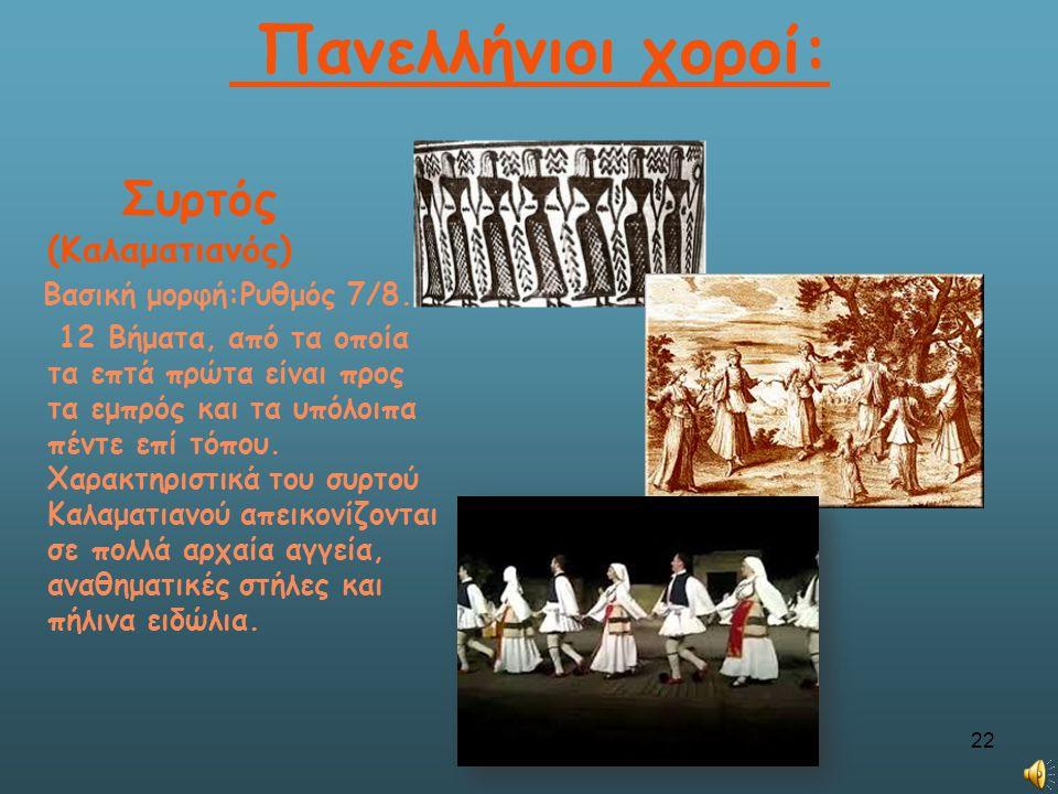Πανελλήνιοι χοροί: Συρτός (Καλαματιανός) Βασική μορφή:Ρυθμός 7/8.