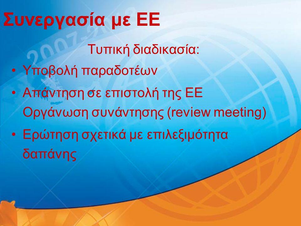 Συνεργασία με ΕΕ Τυπική διαδικασία: Υποβολή παραδοτέων
