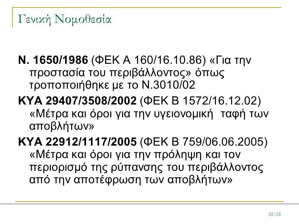 Γενική Νομοθεσία Ν. 1650/1986 (ΦΕΚ Α 160/16.10.86) «Για την προστασία του περιβάλλοντος» όπως τροποποιήθηκε με το Ν.3010/02.