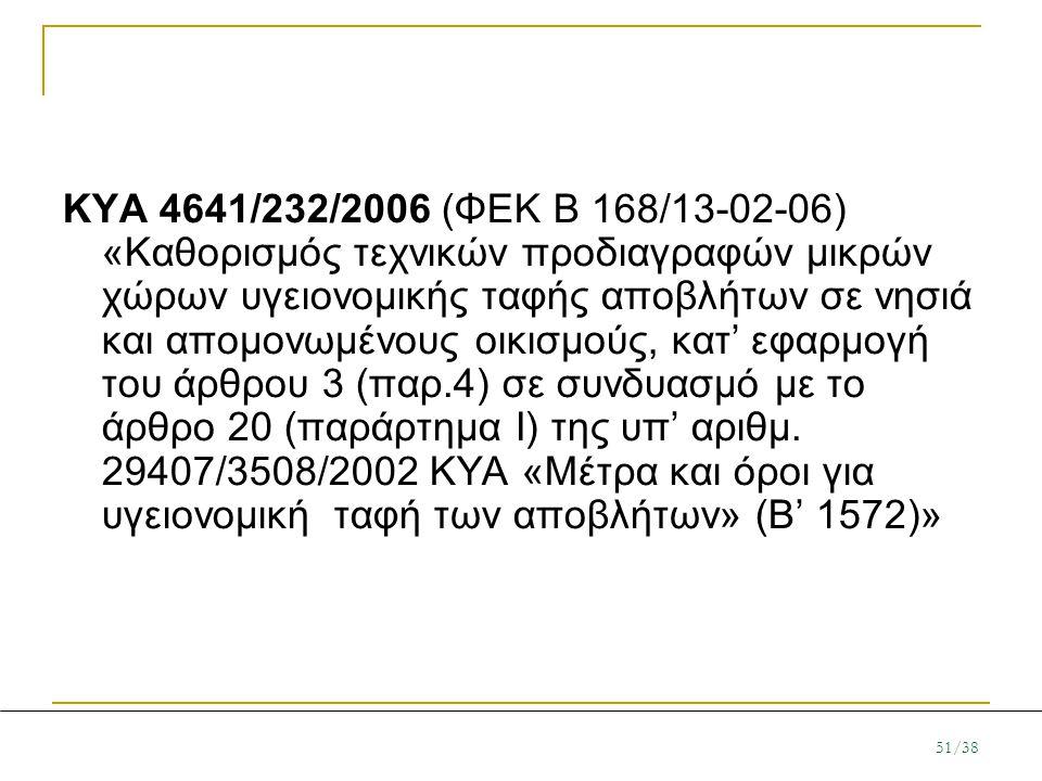 KYA 4641/232/2006 (ΦΕΚ Β 168/13-02-06) «Καθορισμός τεχνικών προδιαγραφών μικρών χώρων υγειονομικής ταφής αποβλήτων σε νησιά και απομονωμένους οικισμούς, κατ' εφαρμογή του άρθρου 3 (παρ.4) σε συνδυασμό με το άρθρο 20 (παράρτημα Ι) της υπ' αριθμ.