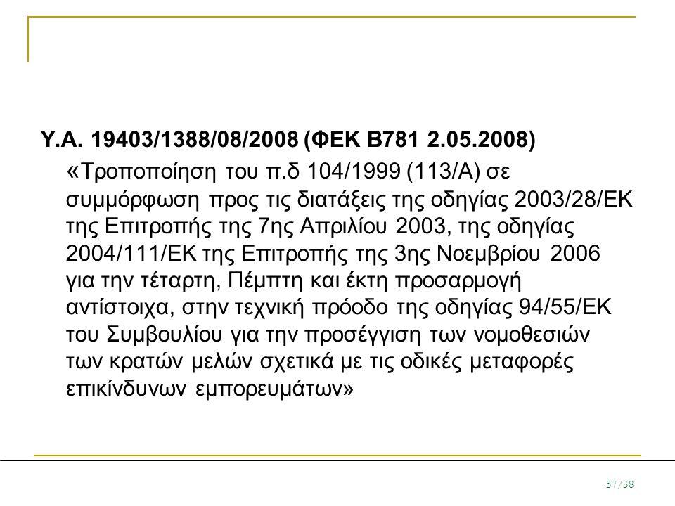 Υ. Α. 19403/1388/08/2008 (ΦΕΚ Β781 2. 05. 2008) «Τροποποίηση του π