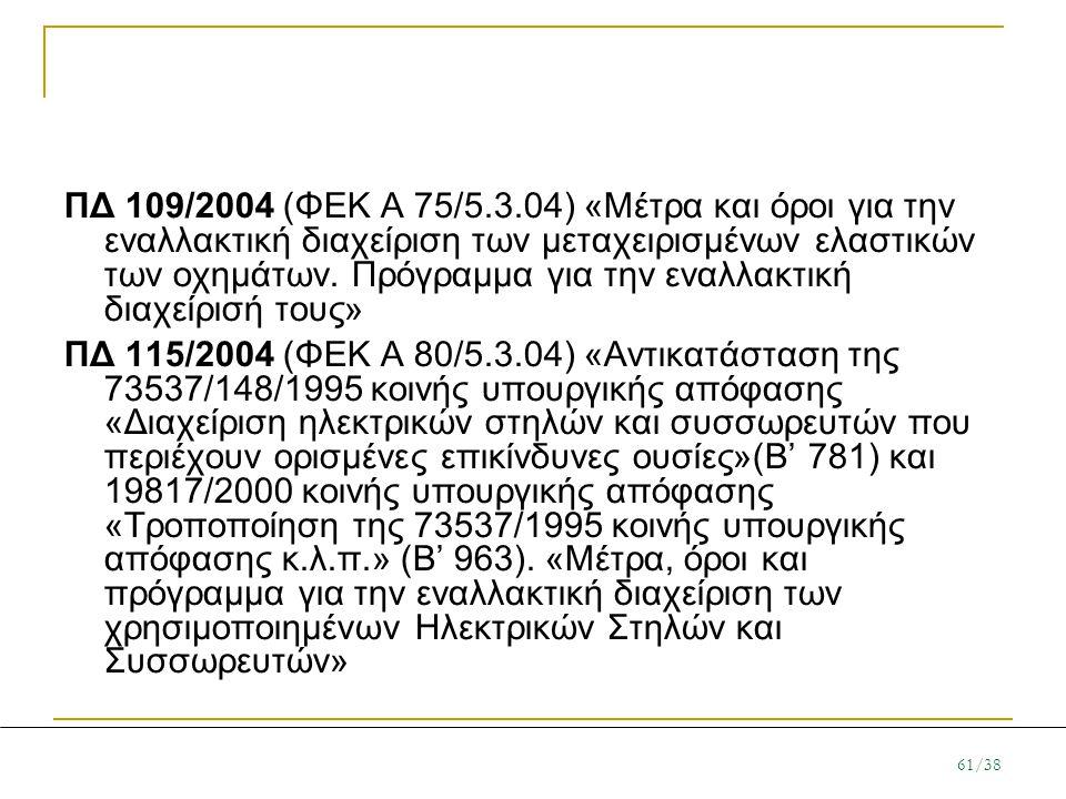 ΠΔ 109/2004 (ΦΕΚ Α 75/5.3.04) «Μέτρα και όροι για την εναλλακτική διαχείριση των μεταχειρισμένων ελαστικών των οχημάτων. Πρόγραμμα για την εναλλακτική διαχείρισή τους»