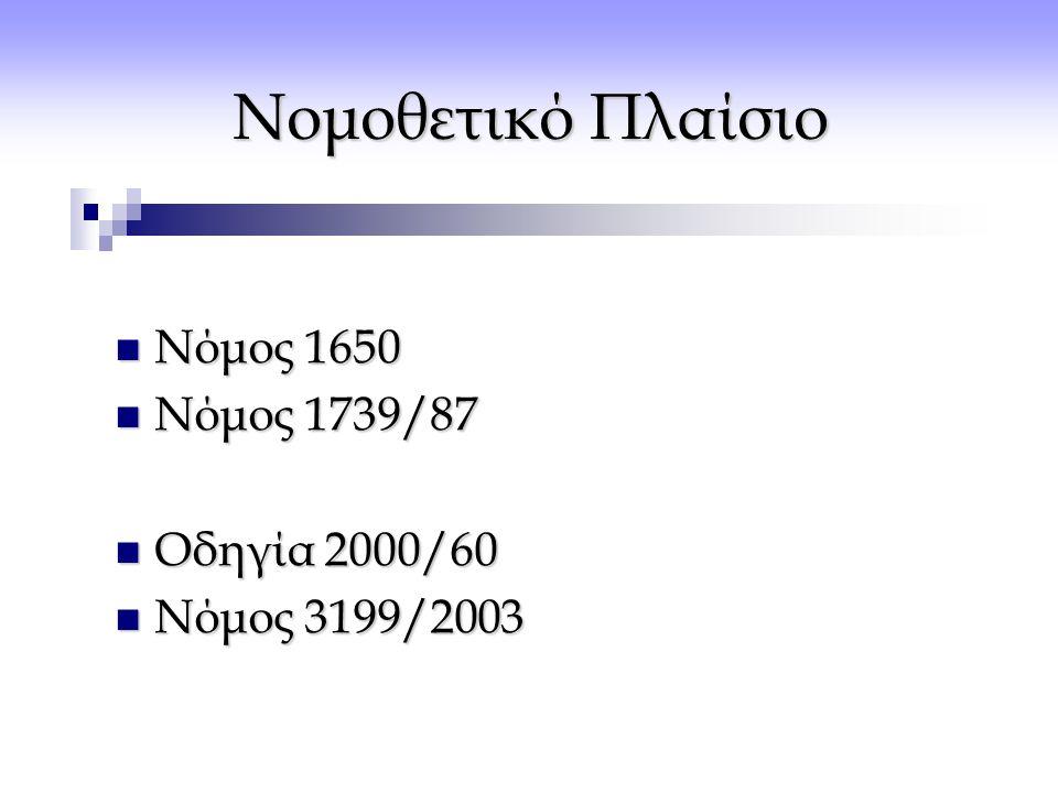 Νομοθετικό Πλαίσιο Νόμος 1650 Νόμος 1739/87 Οδηγία 2000/60
