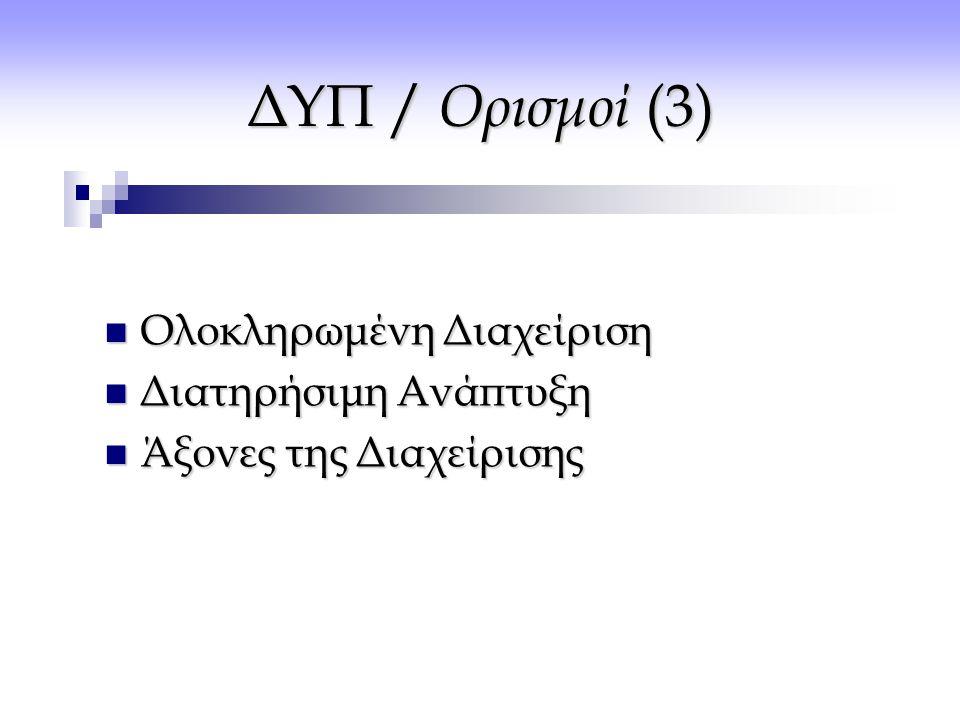 ΔΥΠ / Ορισμοί (3) Ολοκληρωμένη Διαχείριση Διατηρήσιμη Ανάπτυξη