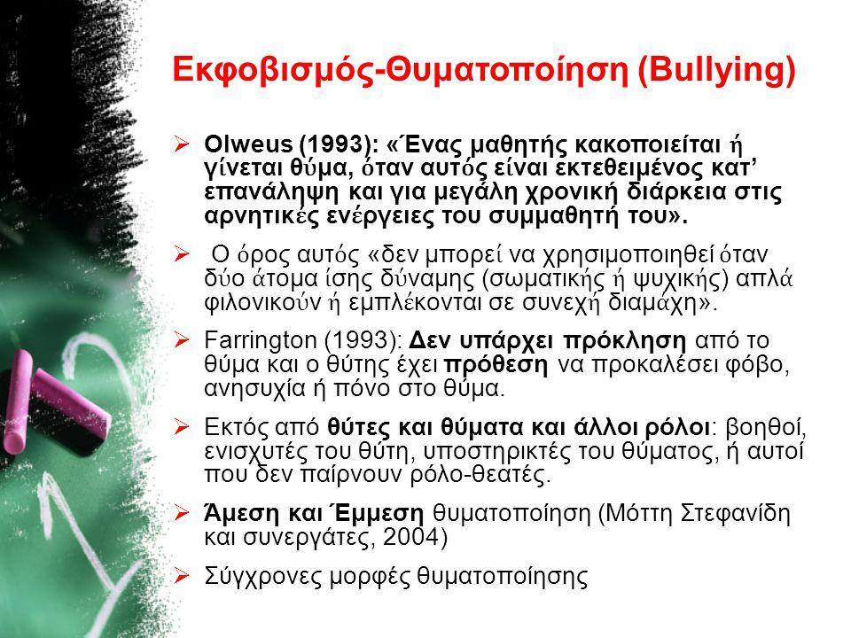 Εκφοβισμός-Θυματοποίηση (Bullying)