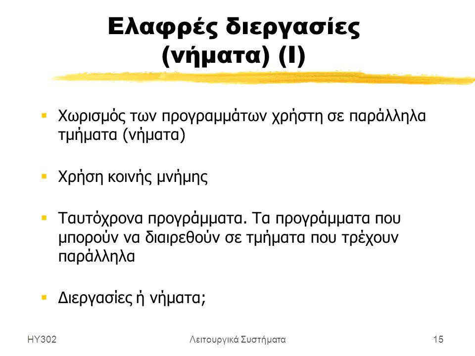 Ελαφρές διεργασίες (νήματα) (Ι)
