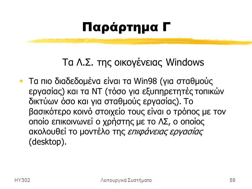 Παράρτημα Γ Τα Λ.Σ. της οικογένειας Windows