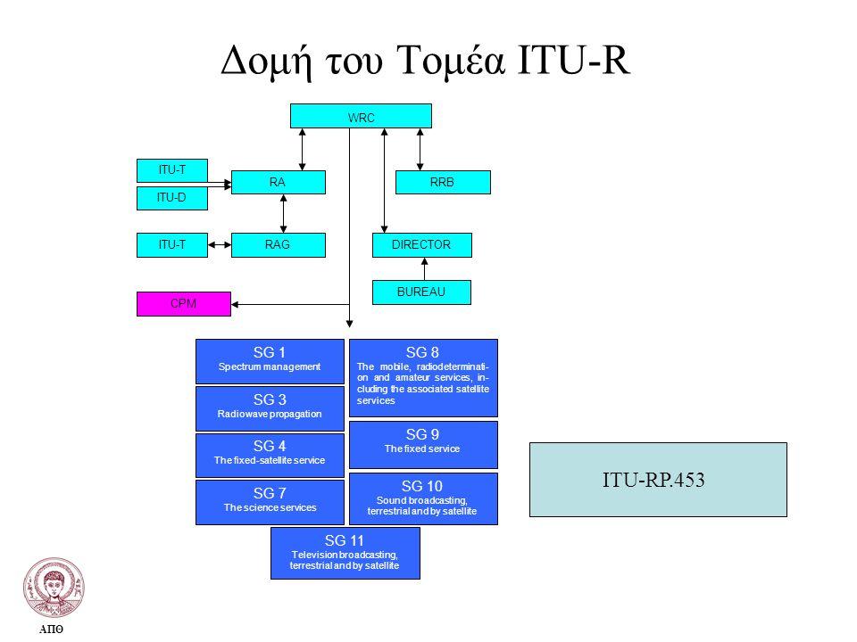 Δομή του Τομέα ITU-R ITU-RP.453 WRC SG 1 SG 3 SG 4 SG 7 SG 8 SG 9