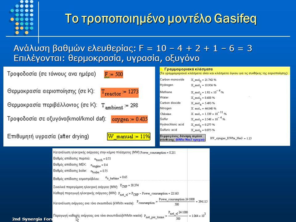 Το τροποποιημένο μοντέλο Gasifeq