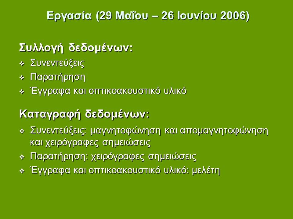 Εργασία (29 Μαΐου – 26 Ιουνίου 2006)