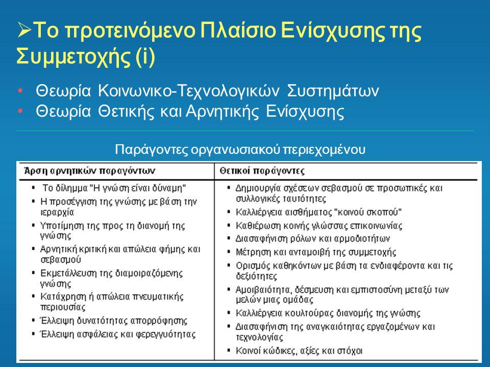 Το προτεινόμενο Πλαίσιο Ενίσχυσης της Συμμετοχής (i)