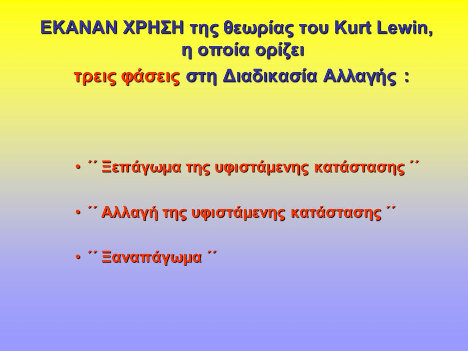 ΕΚΑΝΑΝ ΧΡΗΣΗ της θεωρίας του Kurt Lewin, η οποία ορίζει