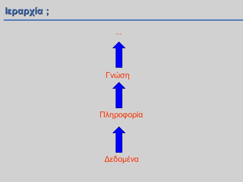 Ιεραρχία ; ... Γνώση ….. Knowledge Πληροφορία Information Data