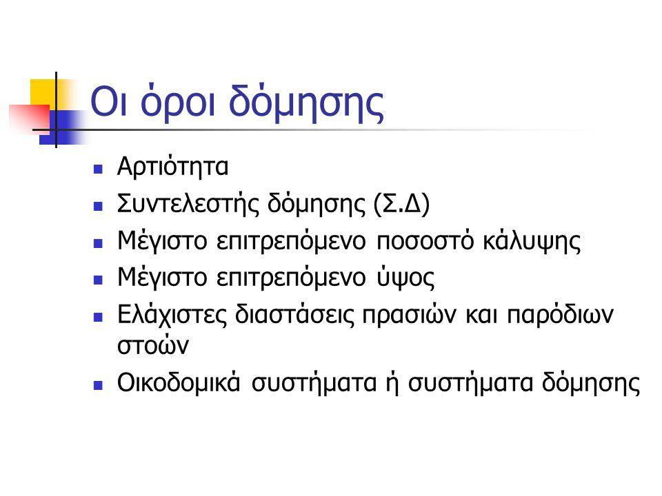 Οι όροι δόμησης Αρτιότητα Συντελεστής δόμησης (Σ.Δ)