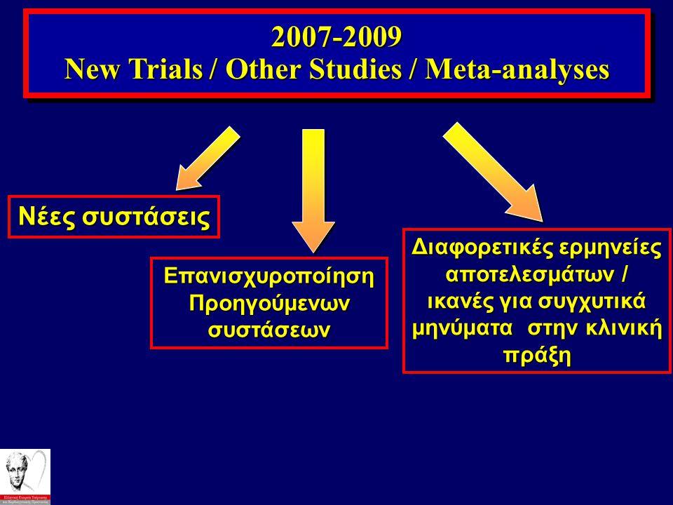 New Trials / Other Studies / Meta-analyses Προηγούμενων συστάσεων
