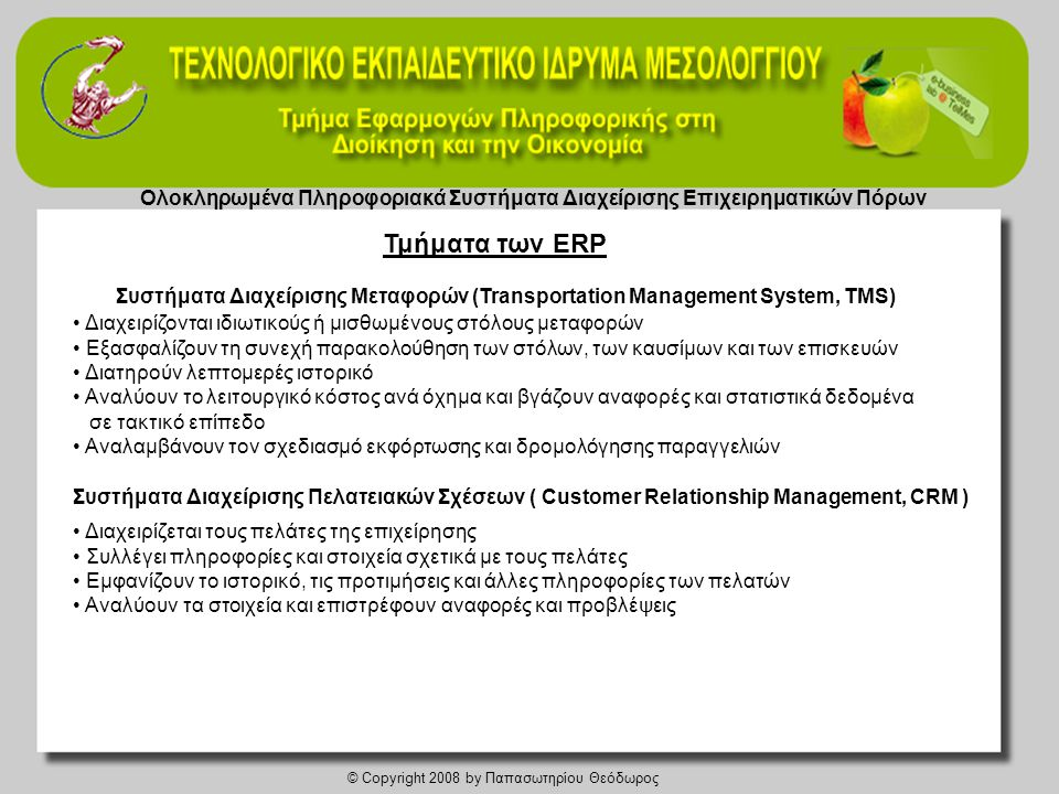 Ολοκληρωμένα Πληροφοριακά Συστήματα Διαχείρισης Επιχειρηματικών Πόρων
