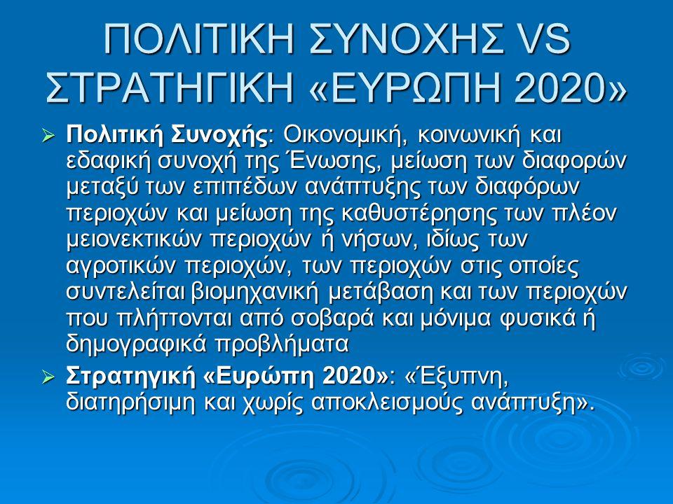 ΠΟΛΙΤΙΚΗ ΣΥΝΟΧΗΣ VS ΣΤΡΑΤΗΓΙΚΗ «ΕΥΡΩΠΗ 2020»
