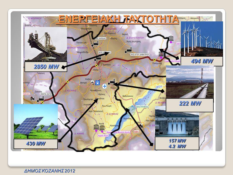 ΕΝΕΡΓΕΙΑΚΗ ΤΑΥΤΟΤΗΤΑ 494 MW 2850 MW 222 MW 430 MW 157 MW 4.2 MW