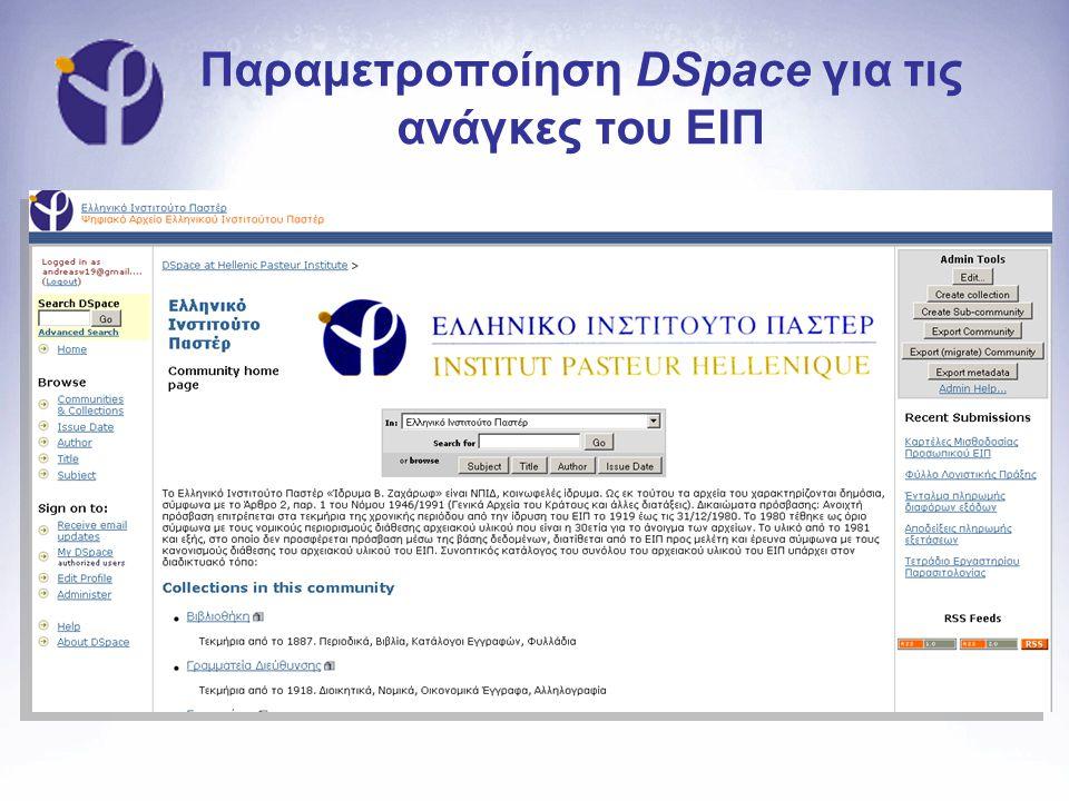 Παραμετροποίηση DSpace για τις ανάγκες του ΕΙΠ