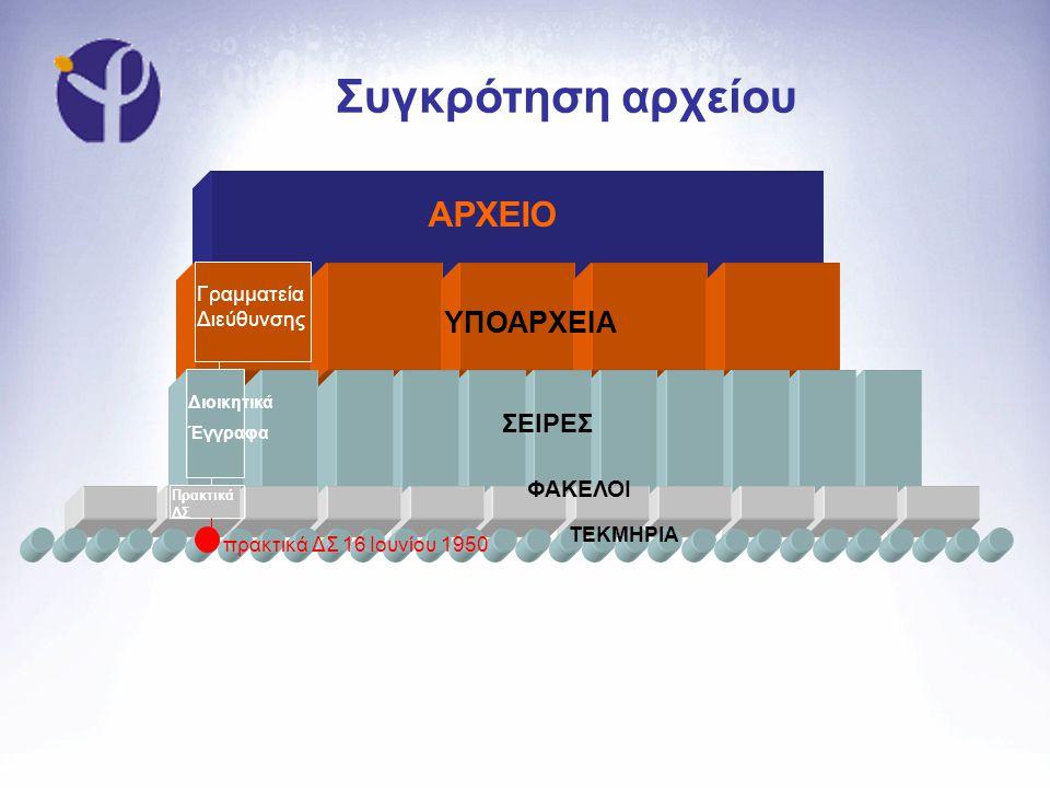 Συγκρότηση αρχείου ΑΡΧΕΙΟ ΥΠΟΑΡΧΕΙΑ ΣΕΙΡΕΣ ΦΑΚΕΛΟΙ