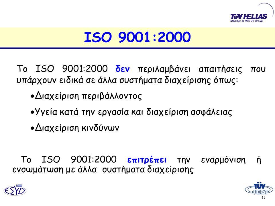 ISO 9001:2000 Το ISO 9001:2000 δεν περιλαμβάνει απαιτήσεις που υπάρχουν ειδικά σε άλλα συστήματα διαχείρισης όπως: