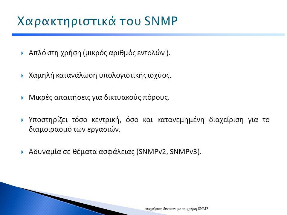 Χαρακτηριστικά του SNMP