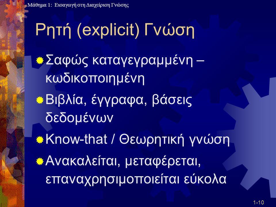 Ρητή (explicit) Γνώση Σαφώς καταγεγραμμένη – κωδικοποιημένη
